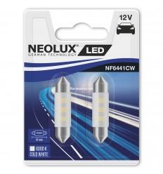 Neolux LED 12V 0,5W SV8.5-8 NF6441CW blister 6000K jasná biela duo blister (41mm)