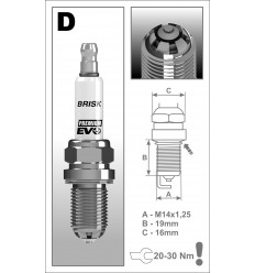 BRISK zapaľovacia sviečka Premium EVO DR14BSXC (1925)