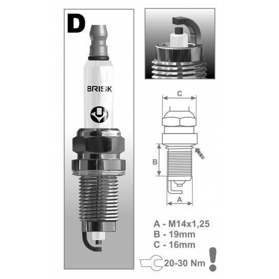 BRISK sviečka DOX15LE-1 Fabia 1,2 Špeciálne jednoelektrodová širokým zapaľovacia sviečka Stredné aj vonkajšie elektróda legovan