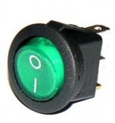 Vypínač kolískový okrúhly zelený