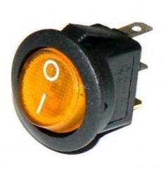 Vypínač kolískový okrúhly žltý
